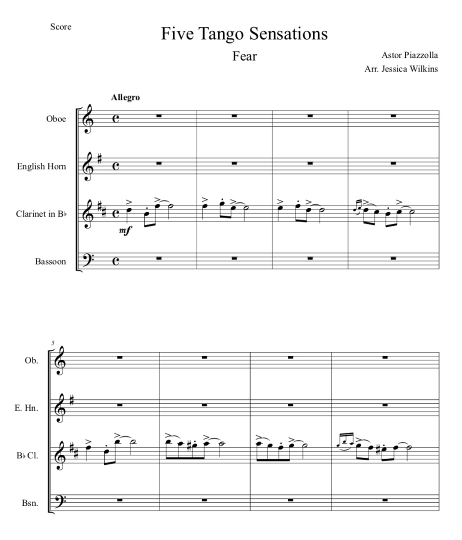 Piazzolla fear woodwind quartet jdw sheet music piazzolla ccuart Choice Image