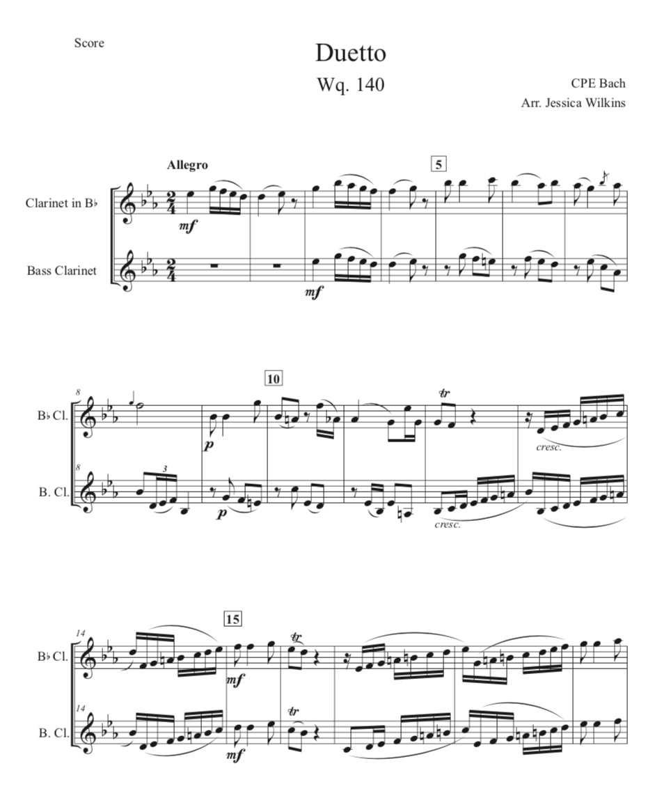 Bach Clarinet & Bass Clarinet Duet Wq 140 Allegro (Digital Download)