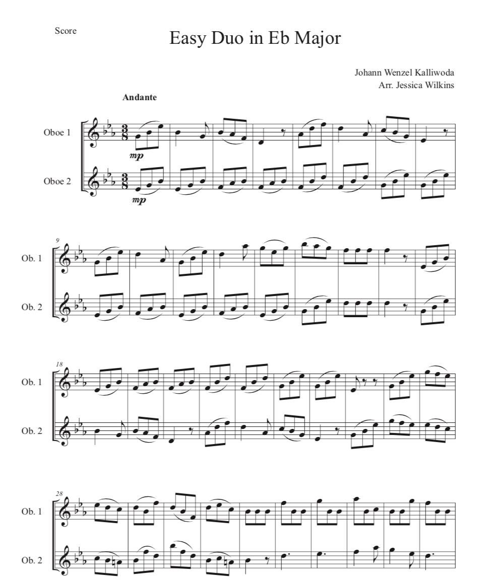 Duo Eb Major - Score